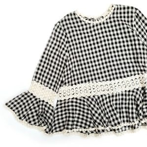 Everleigh Gingham Crochet Detail Bell Sleeve Top
